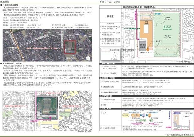 ↑札幌市が配布した「校舎配置計画案」。校舎は「市立北海道札幌開成高校」を全面改築、増築する。