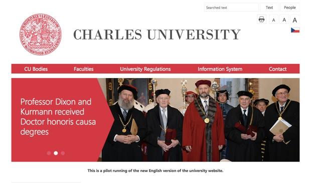 カレル大学のホームページ(http://www.cuni.cz/)。