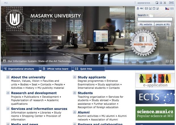 マサリク大学のホームページ(http://www.muni.cz/)。