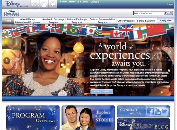 ウォルト・ディズニー・カンパニーでは、いくつかの実習型国際プログラムを実施。