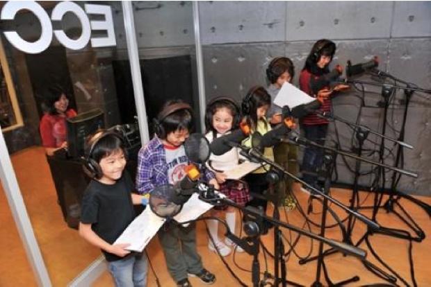 「キッザニア甲子園」のポストレコーディングスタジオ。