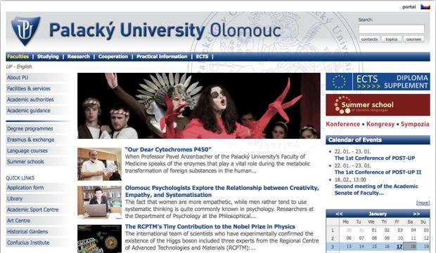 パラツキー大学のサイトはwww.upol.cz/en/。