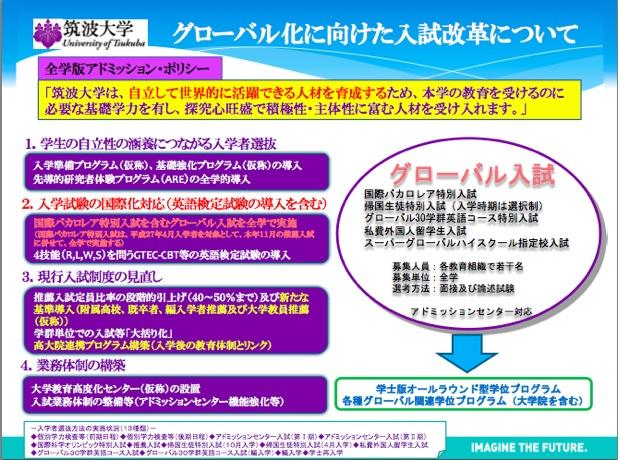 「筑波大学」が1月30日に発表した入試改革についての資料より。