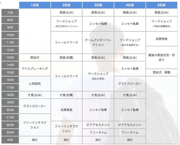 「留学フェローシップ」のサマーキャンプページに掲載されているスケジュール。