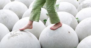 Free Child Walking on White Round Spheres Balance Creative Commons