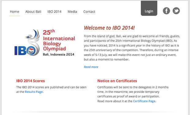 バリ大会の公式サイト(http://ibo2014.org/)。