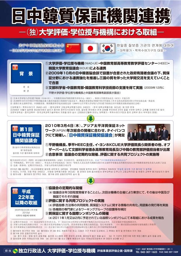 「日中韓質保証機関協議会」は、日本では独立行政法人「大学評価・学位授与機構」が