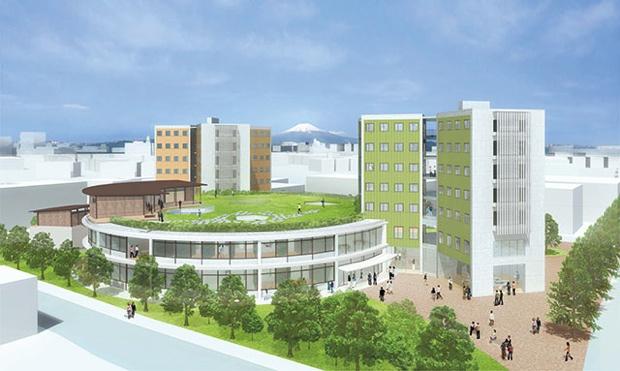 15年2月に完成予定の「国際リベラルアーツ学部」専用の校舎と学生寮。伊東豊雄氏による設計。