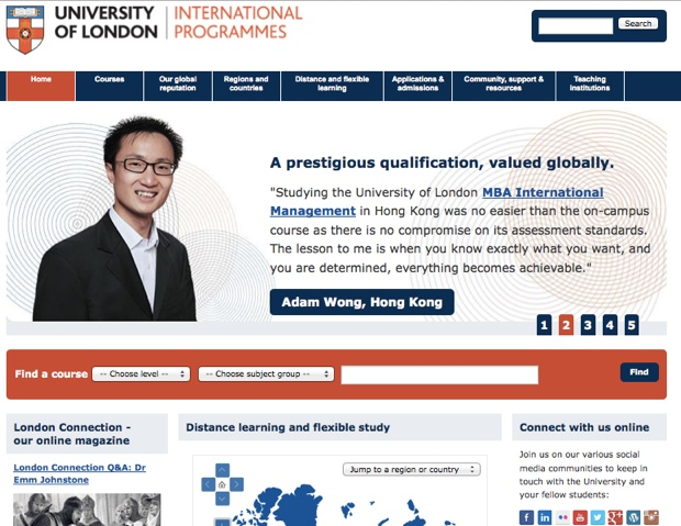 「University of London International Programmes」のサイト。