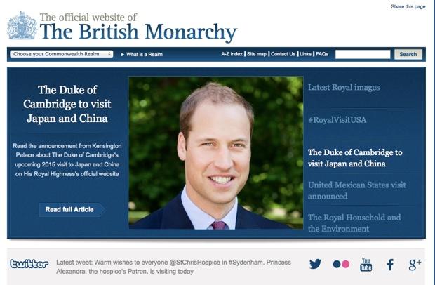 「イギリス王室」公式サイトで、来日について発表。日本のあとは中国を訪問予定。