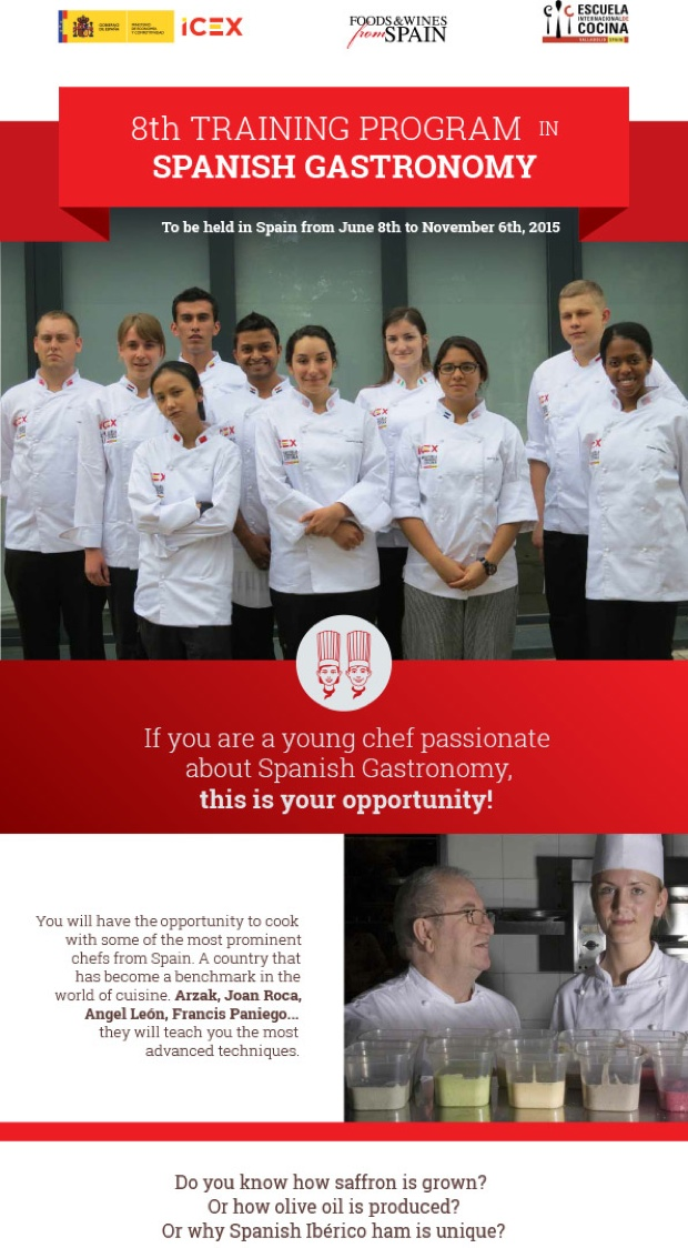 スペイン料理の普及や輸出促進の担い手として貢献する「スペインガストロノミー親善大使」の育成を目的に実施。