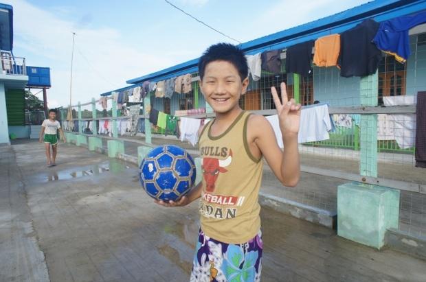 子どもたちにはサッカーが大人気。