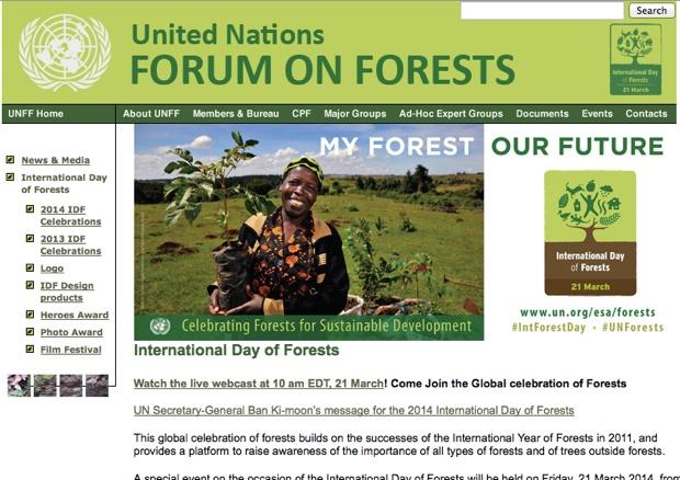 国連のサイト内にある「International Day of Forests」のコーナー。