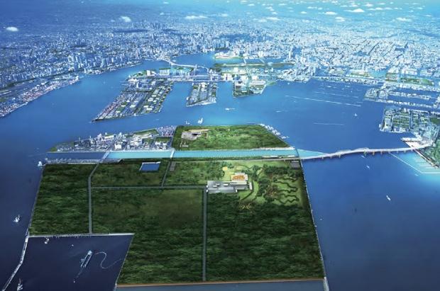 イラストは、東京都が東京オリンピック招致の際に書き起こした、3つの競技会場として活用した「海の森」のイメージ図。