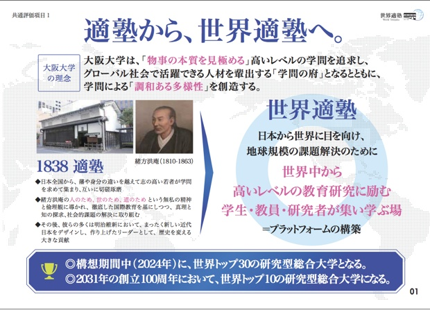 「世界適塾」とは、大阪大学が1838年に緒方洪庵が開いた「適塾」を原点としていることに由来。大阪大学は、14年に「スーパーグローバル大学」タイプAに選出ましたが、そのプラン名が「GLOBAL UNIVESITY『世界適塾』」。