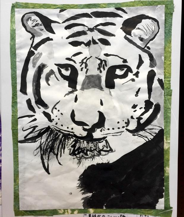 3ヵ月間の講義を受けたあとは、学校の図工の授業でこんな感じの水墨画が描けるようになりました。