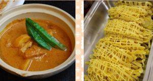 エスニックな風味満載の「チキンカレー」(右)と、マレーシア版クレープ「ロティジャラ」(左)。
