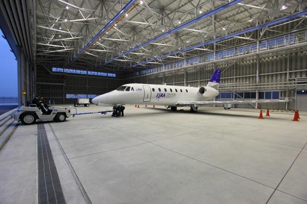 名古屋空港飛行研究拠点の実験用航空機「飛翔」。写真提供/JAXA。