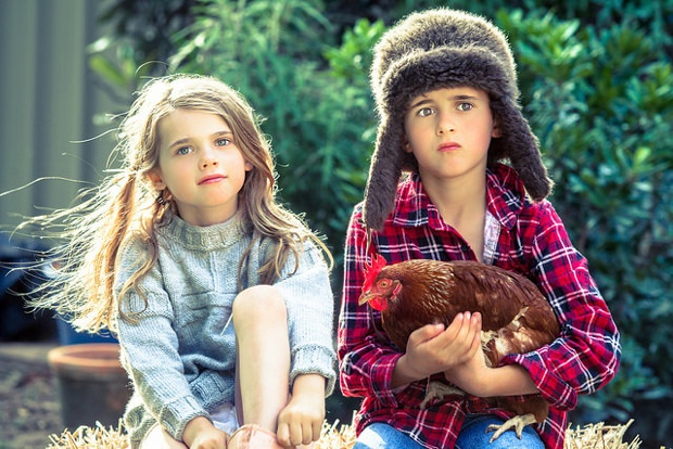 Country kids with a rooster / Sydney Treasures Photography