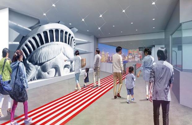 タイムズスクエアや自由の女神といったアメリカを象徴するアイコンのほか、西海岸・東海岸エリアを再現した教室もあるそう。