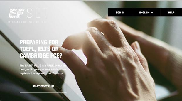 「EFSET Plus」は、TOEFLやIELTSを受検する人に対応した2時間の本格的な試験。