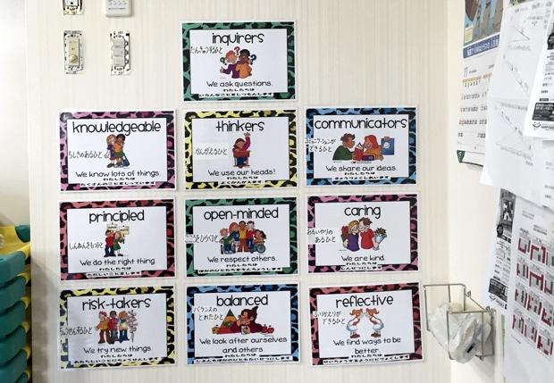 教室のカベには、国際バカロレアの学習者像として望ましい、10項目が貼ってあった。