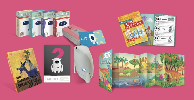 英語学習を目的としたセット「Musio K Genius material Activity Materials」。
