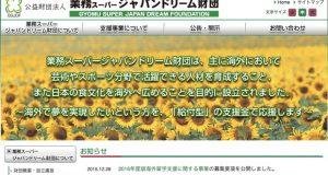 業務スーパージャパンドリーム財団は、日本文化を諸外国に広めていくことを通じ国際相互理解をさらに深めていくことを目的に12年8月に設立。