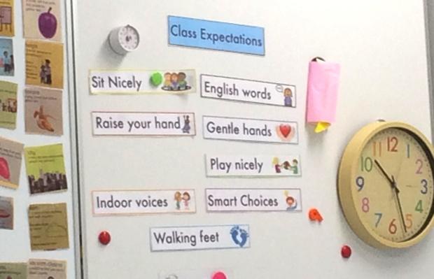 教室のカベに貼られた9つのルール