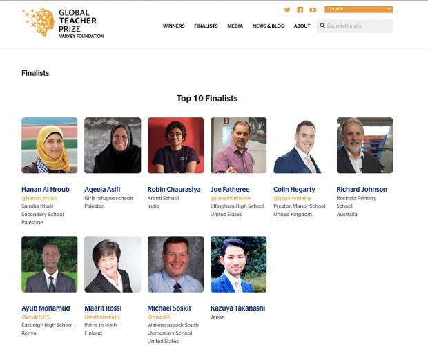 「The 2016 Global Teacher Prize Top 10 Finalists」に選ばれた先生たち。