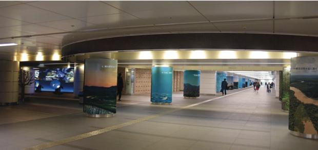 40本の柱に貼られたメッセージポスターにより、日本の技術力・企業力が切りひらく新たな地球の未来ビジョンを可視化し、地球目線で捉えた世界や日本の食の未来像、気象・ 海象・地震、防災減災などをテーマにした体験型展示を併せて展示。