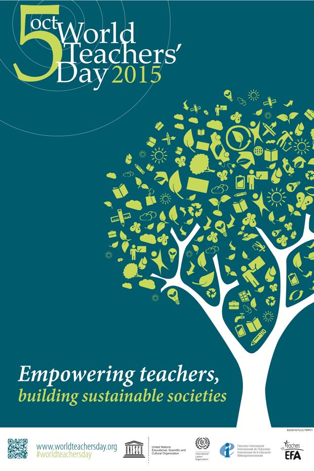 ユネスコが作成した、2015年World Teacher's Dayのポスター。