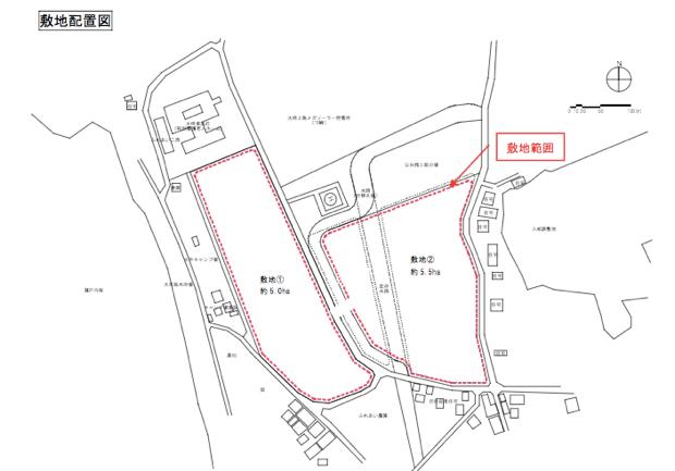 建築予定の敷地(赤線内)。海側のキャンプ場等は含まれず。