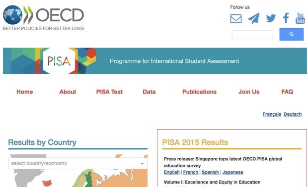 OEDC公式サイト内に設けられている「PISA」ページ。