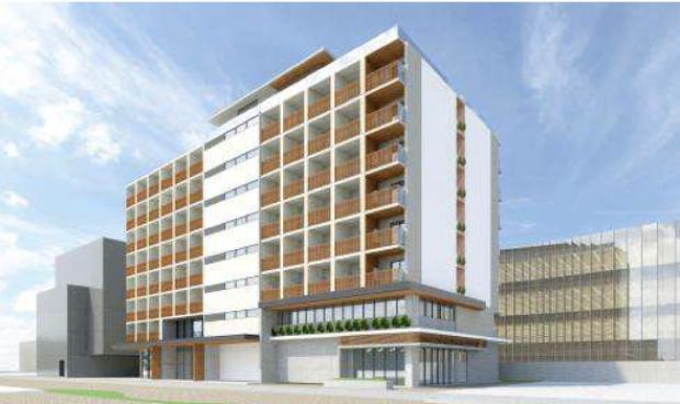 アップルの「綱島テクニカル・デベロップメント・センター(TDC)」も建設中の「Tsunashimaサスティナブル・スマートタウン」に開寮する「綱島SST国際学生寮」。地上9階建て。