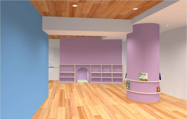 レッジョ・エミリア・アプローチの「環境は第3の教育者」という考えのもと、アトリエやホールのスペースを設置。