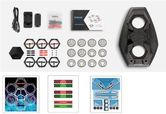 マスターコントロールモジュールのほか、パワーモジュール、プロペラ、フットパッド、保護カバー、ホバークラフトベース、充電池、充電器、充電ケーブル、予備プロペラ、デコレーション用ステッカー、日本語マニュアルを同梱。