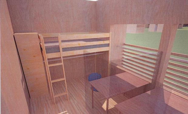 学生寮の部屋。