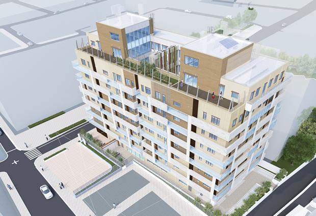 建物は、地上9階建(鉄筋コンクリート)。