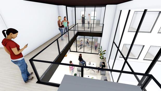 コモンリビングは、階を越えた寮生間の交流を可能とすると同時に、2フロアで大きなメゾネット空間をつくります。