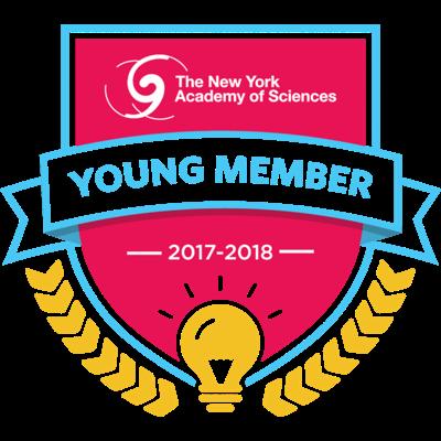 「The New York Academy of Sciences」のヤングメンバーに選ばれると贈られるデジタルバッチ。